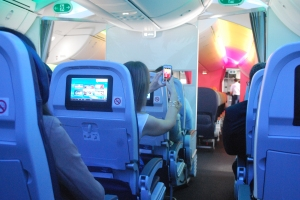 Multi coloured B787-8 Dreamliner interior