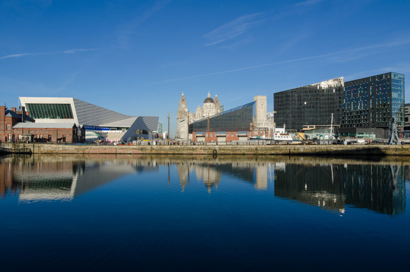 The view across the Salthouse Dock towards the UNesco awarded skyline of Liverpool's Pier Head in January 2012.